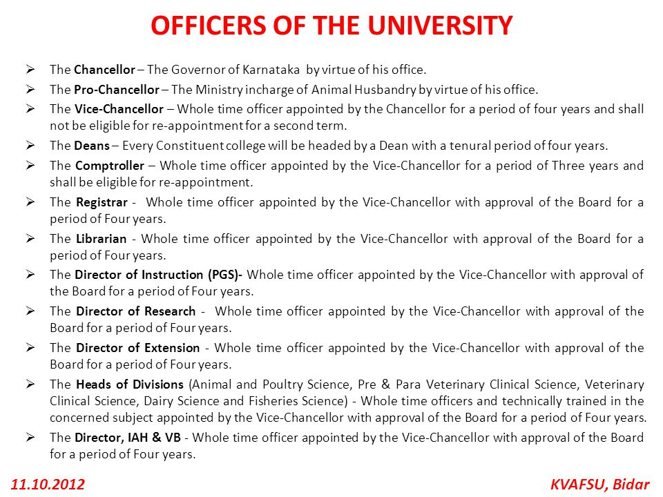 OFFICERS OF THE UNIVERSITY