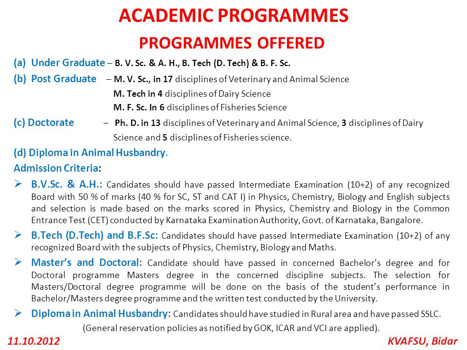 ACADEMIC PROGRAMMES PROGRAMMES OFFERED