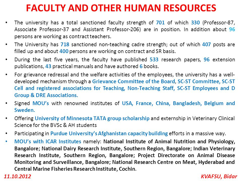 FACULTY AND OTHER HUMAN RESOURCES