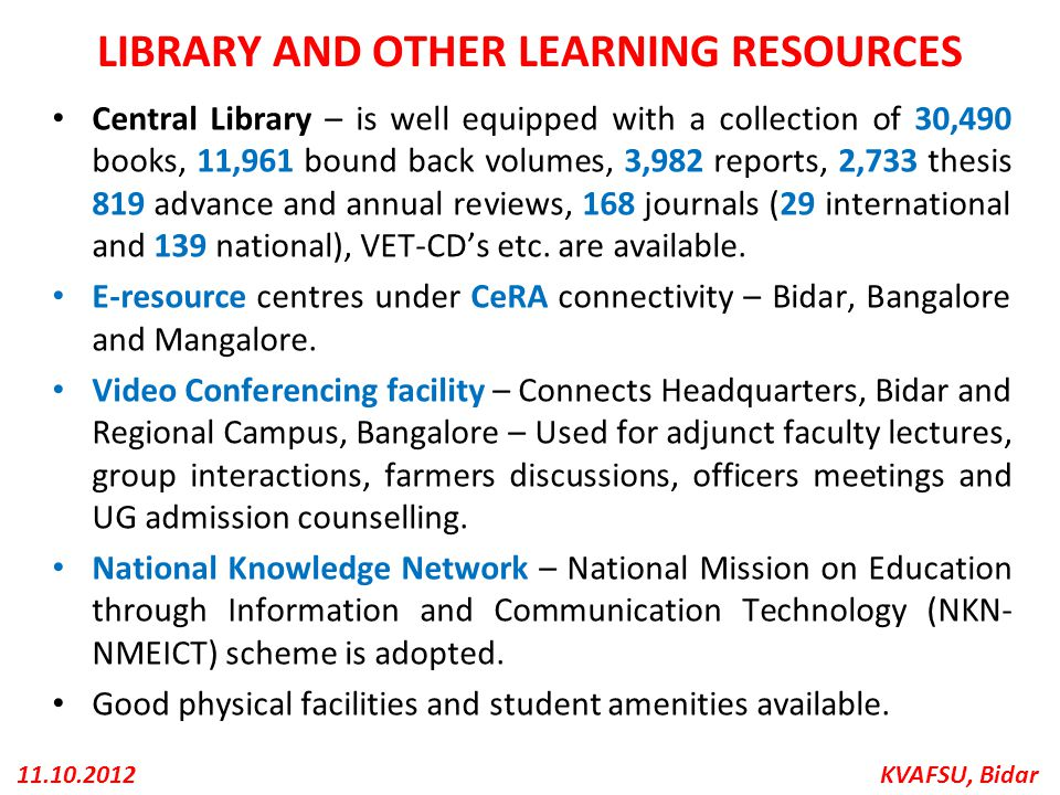 LIBRARY AND OTHER LEARNING RESOURCES