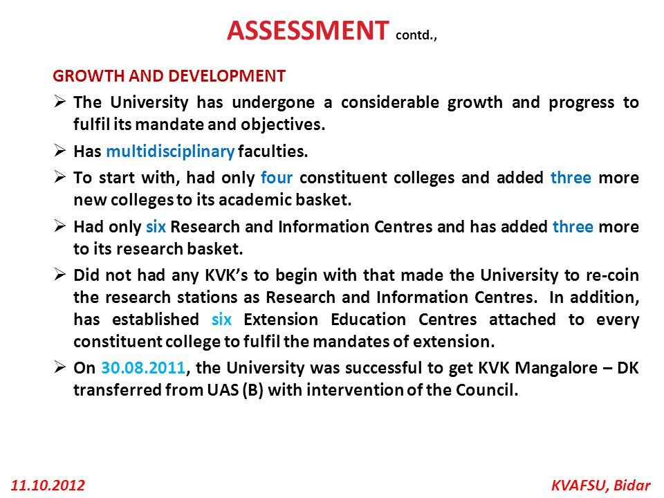 ASSESSMENT contd., GROWTH AND DEVELOPMENT
