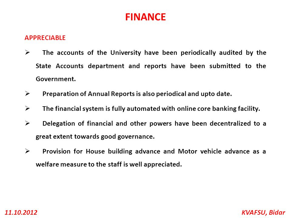 FINANCE APPRECIABLE.