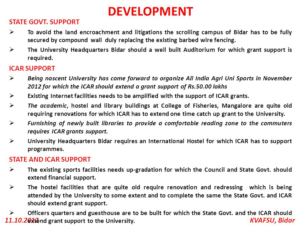 DEVELOPMENT STATE GOVT. SUPPORT ICAR SUPPORT STATE AND ICAR SUPPORT
