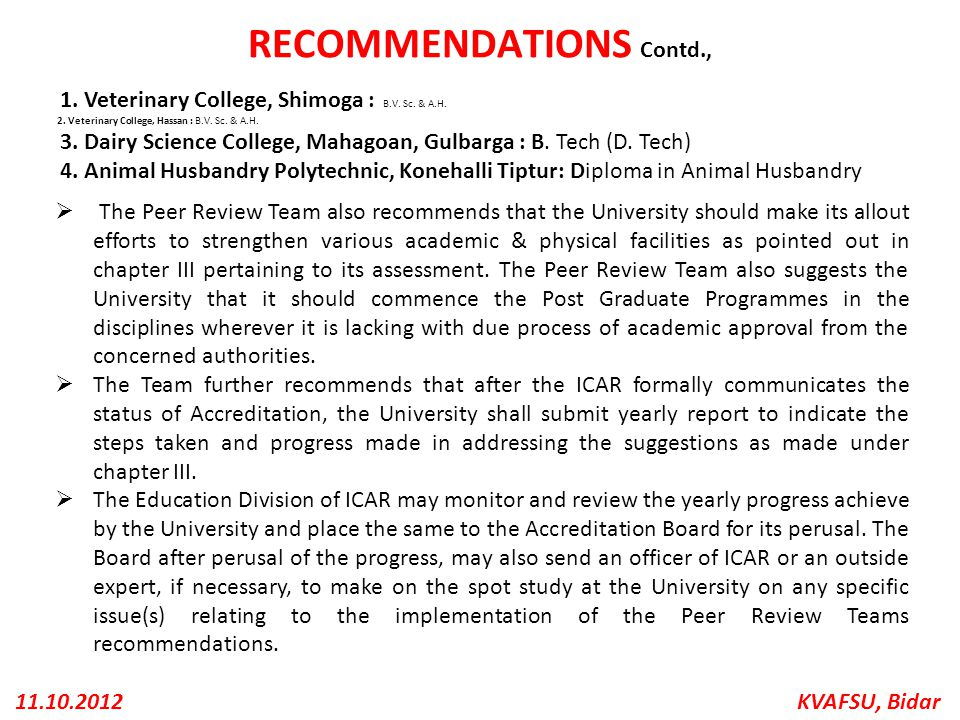 RECOMMENDATIONS Contd.,