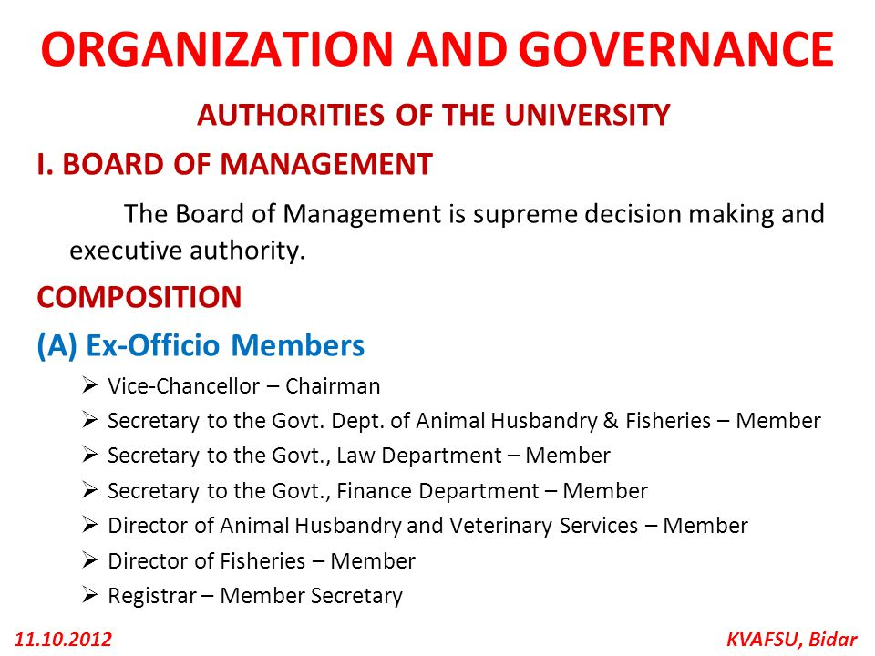 ORGANIZATION AND GOVERNANCE