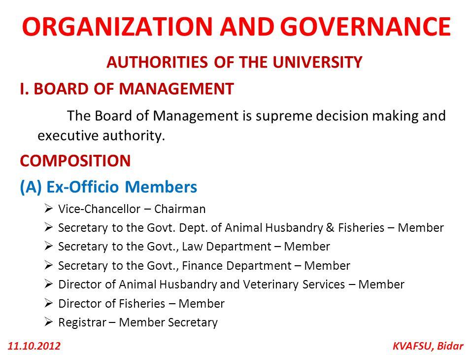 ORGANIZATION AND GOVERNANCE
