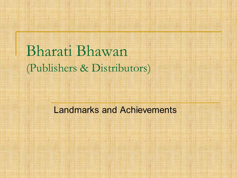 Bharati Bhawan (Publishers & Distributors)