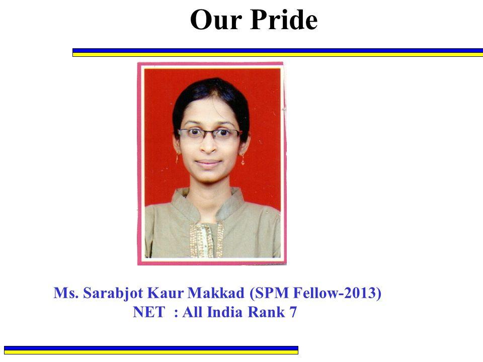 Ms. Sarabjot Kaur Makkad (SPM Fellow-2013)