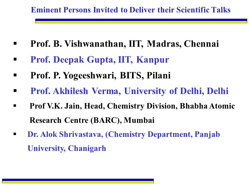 Eminent Persons Invited to Deliver their Scientific Talks