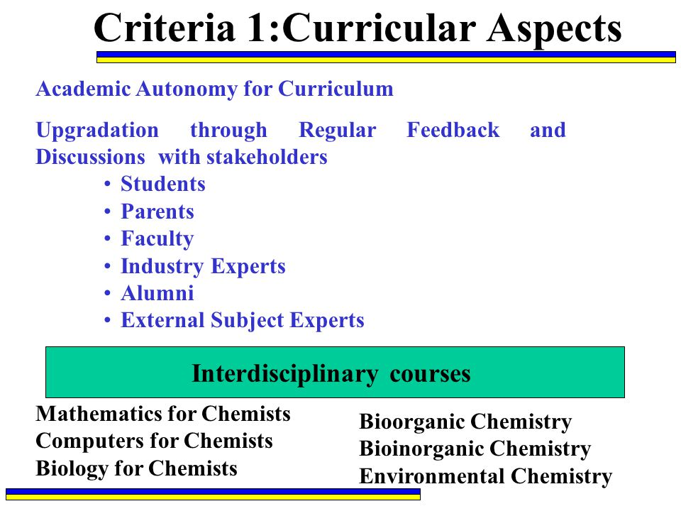 Criteria 1:Curricular Aspects