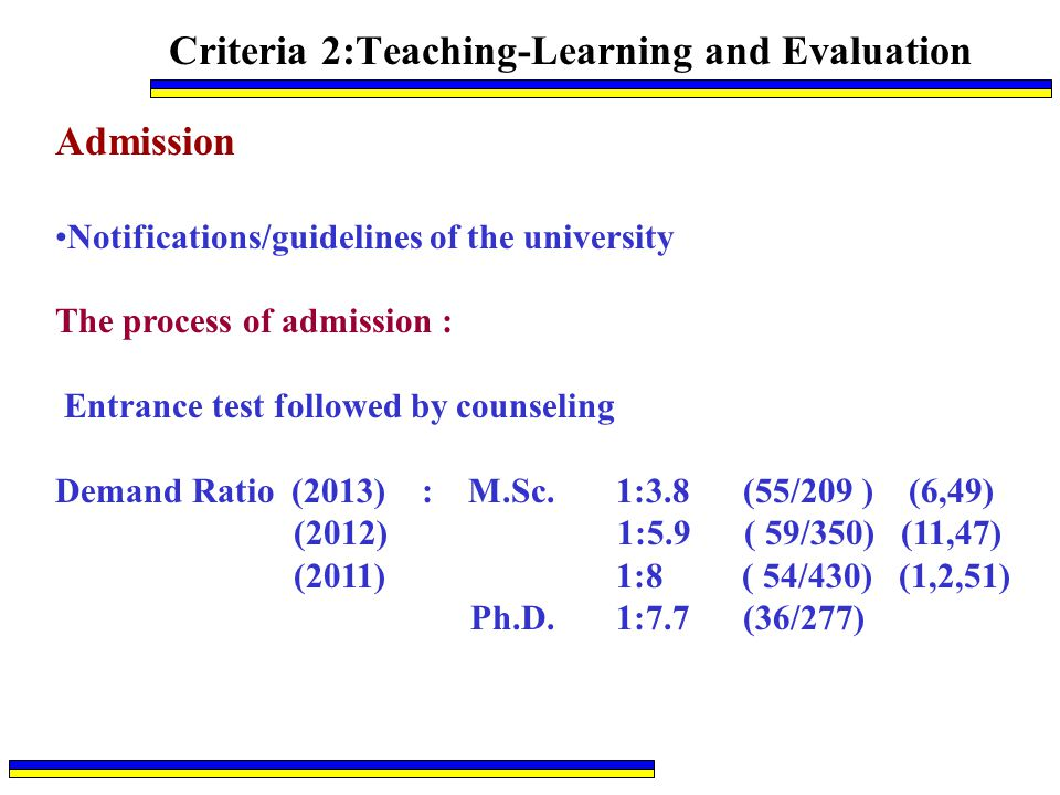 Criteria 2:Teaching-Learning and Evaluation