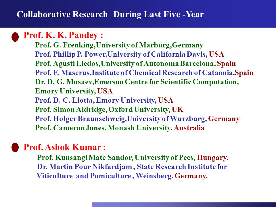 Collaborative Research During Last Five -Year