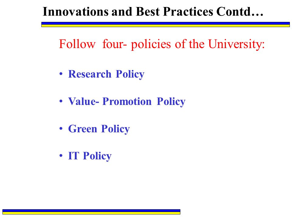 Innovations and Best Practices Contd…