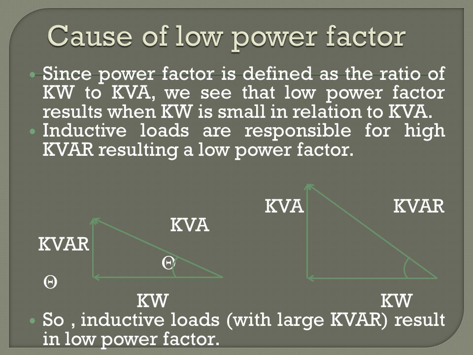 Cause of low power factor