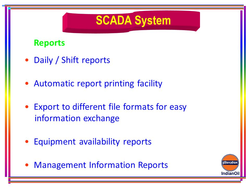 SCADA System Reports Daily / Shift reports