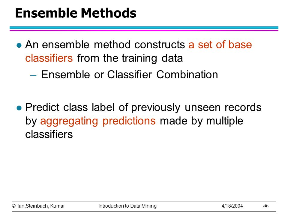 Ensemble Methods An ensemble method constructs a set of base classifiers from the training data. Ensemble or Classifier Combination.