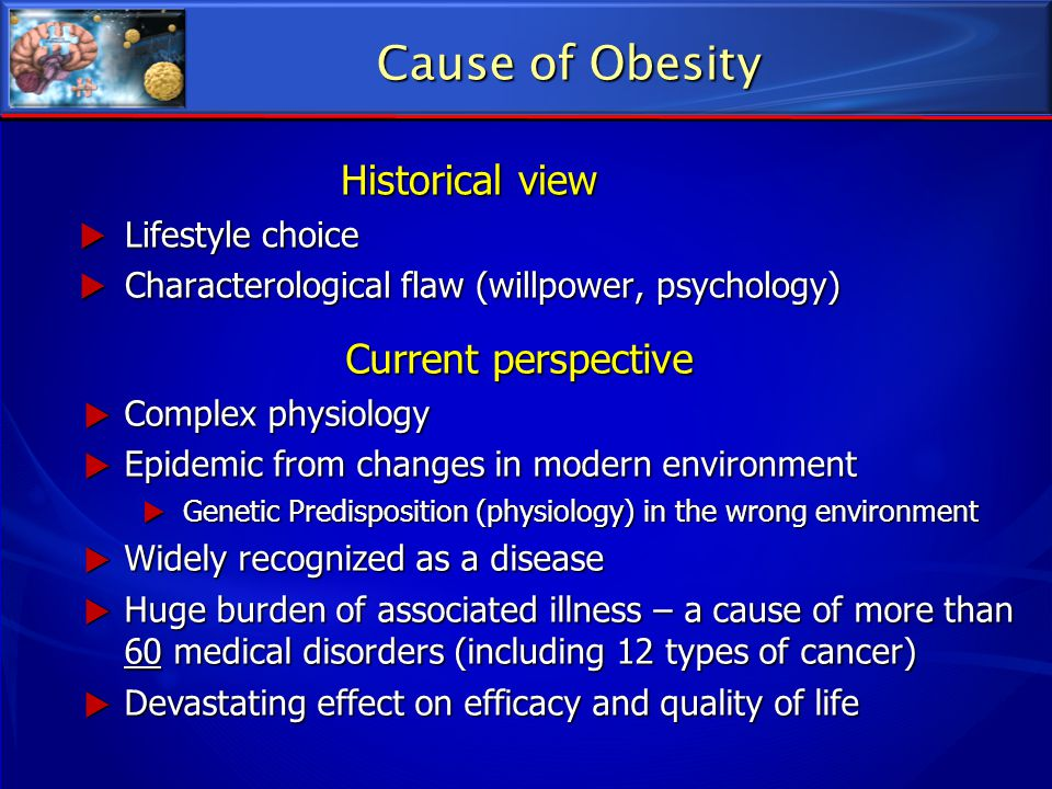 Cause of Obesity Historical view Current perspective Lifestyle choice