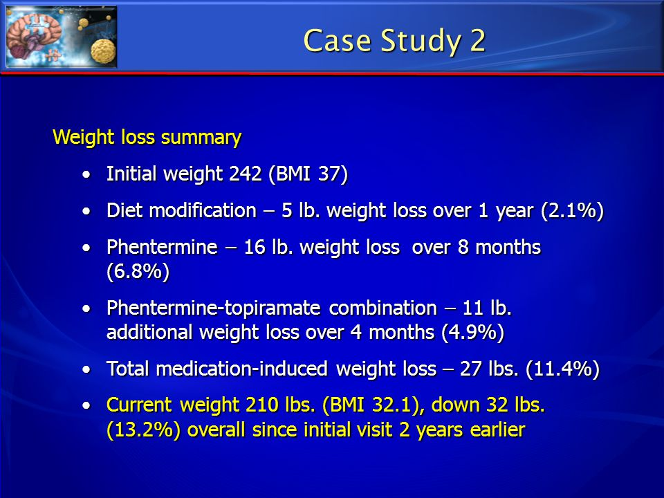 Case Study 2 Weight loss summary Initial weight 242 (BMI 37)