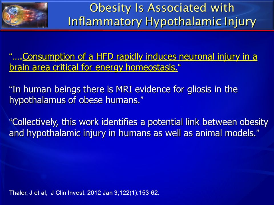 Obesity Is Associated with Inflammatory Hypothalamic Injury