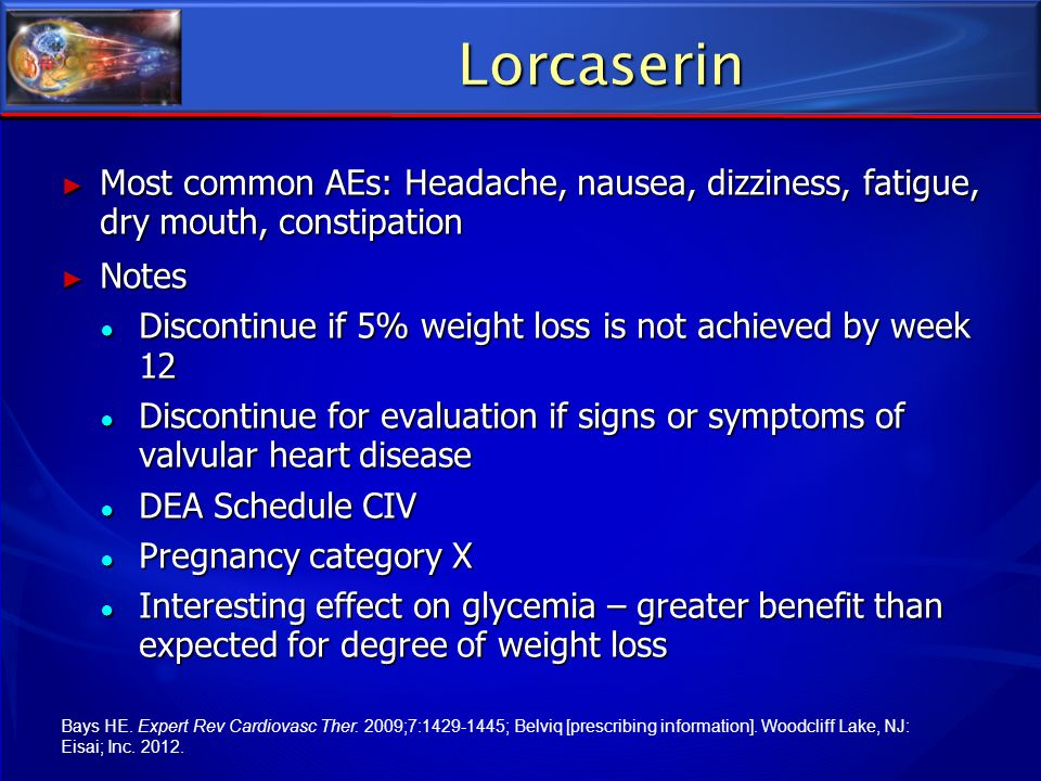 Lorcaserin Most common AEs: Headache, nausea, dizziness, fatigue, dry mouth, constipation. Notes.