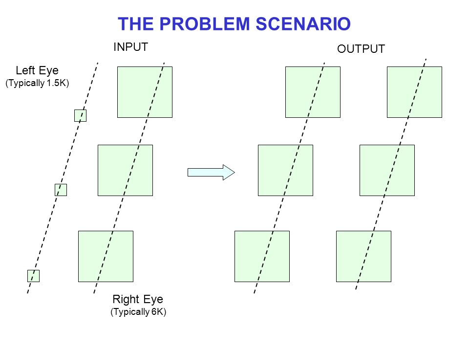 THE PROBLEM SCENARIO INPUT OUTPUT Left Eye Right Eye (Typically 1.5K)