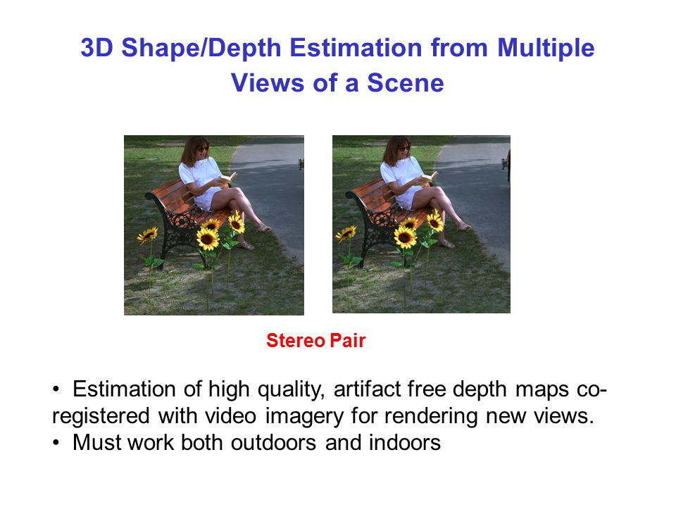 3D Shape/Depth Estimation from Multiple Views of a Scene