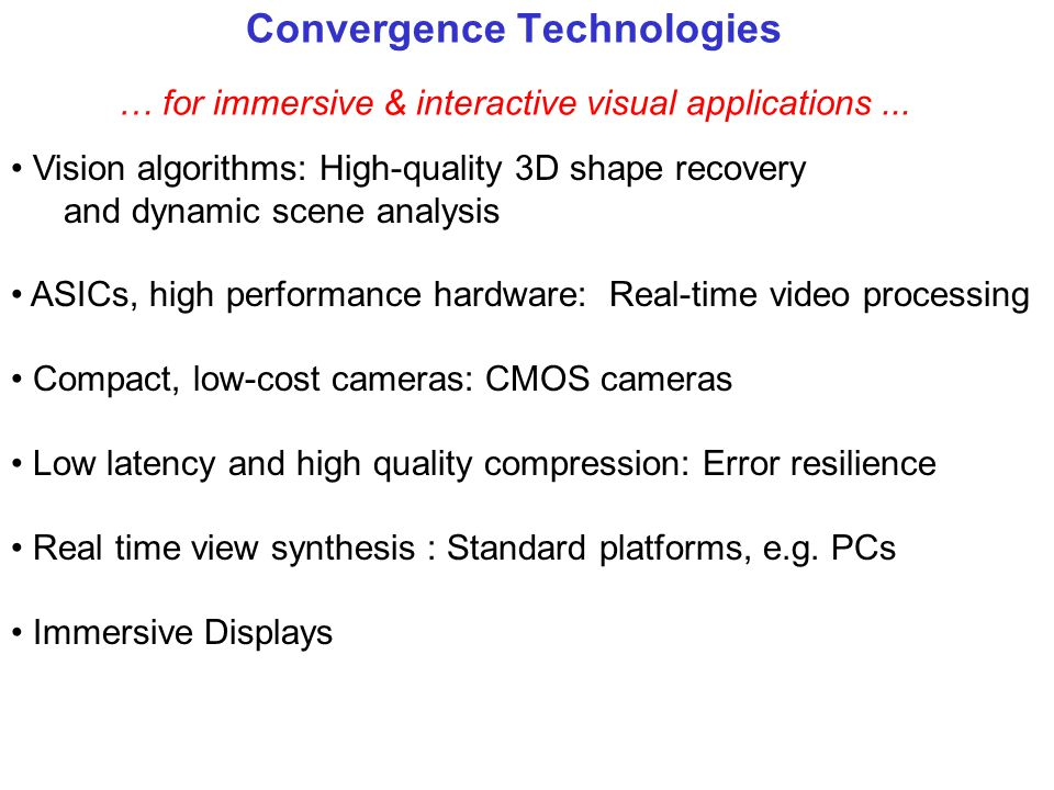 Convergence Technologies … for immersive & interactive visual applications ...