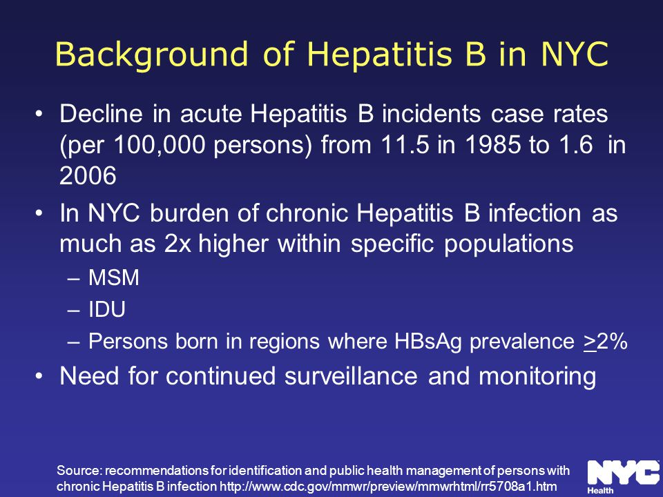 Background of Hepatitis B in NYC