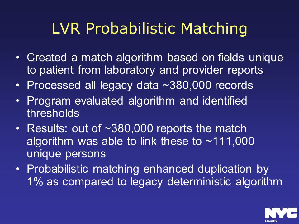 LVR Probabilistic Matching