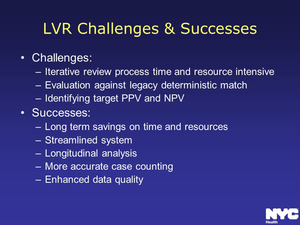 LVR Challenges & Successes