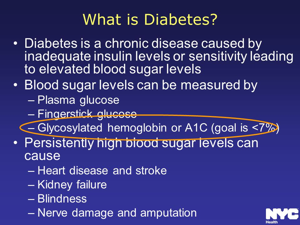 What is Diabetes Diabetes is a chronic disease caused by inadequate insulin levels or sensitivity leading to elevated blood sugar levels.