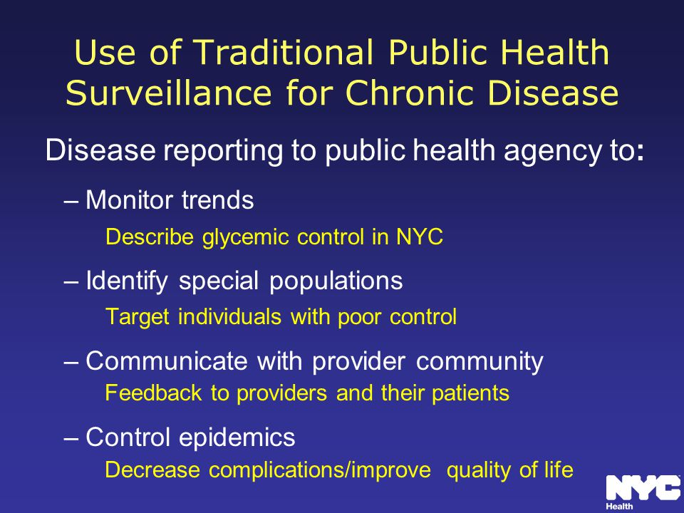 Use of Traditional Public Health Surveillance for Chronic Disease