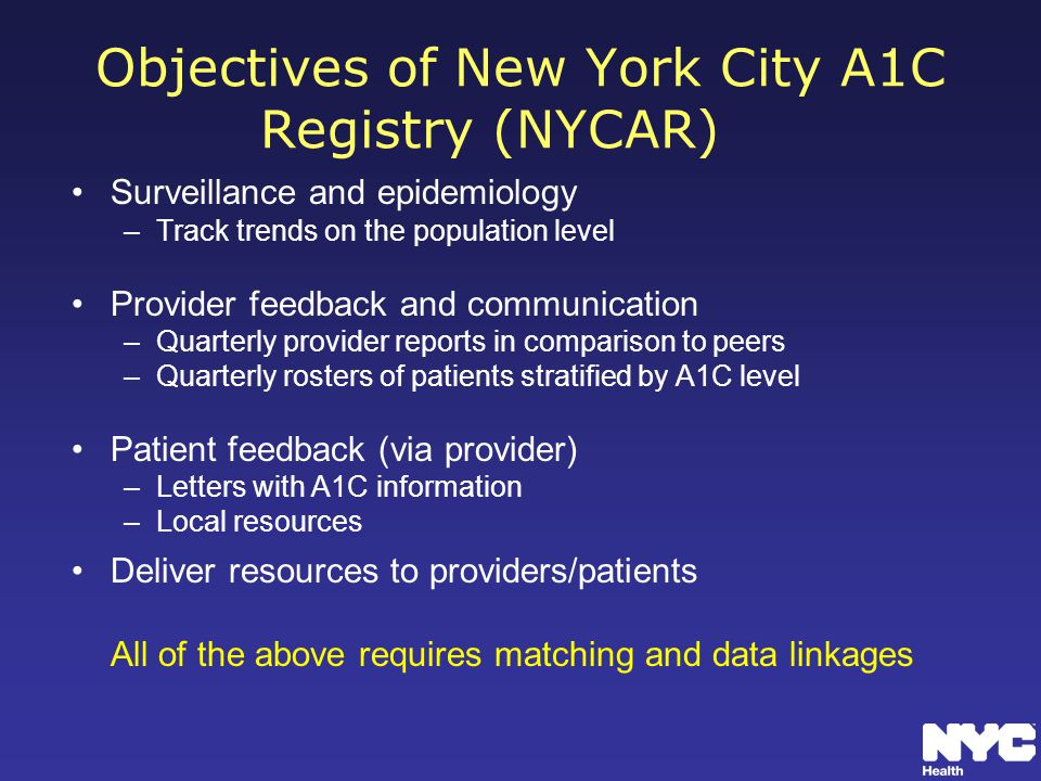 Objectives of New York City A1C Registry (NYCAR)