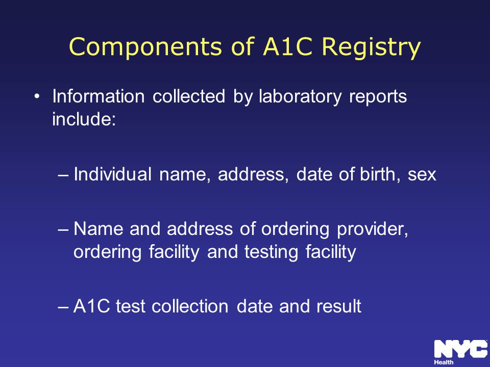 Components of A1C Registry