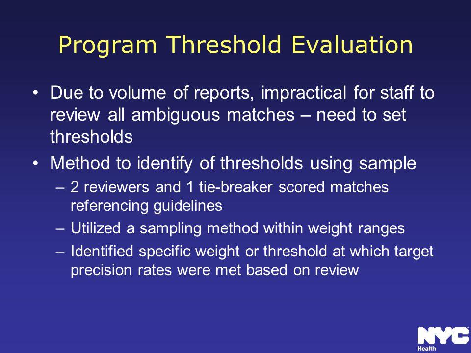 Program Threshold Evaluation