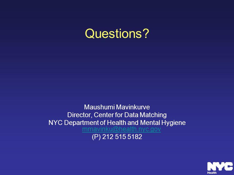 Questions Maushumi Mavinkurve Director, Center for Data Matching