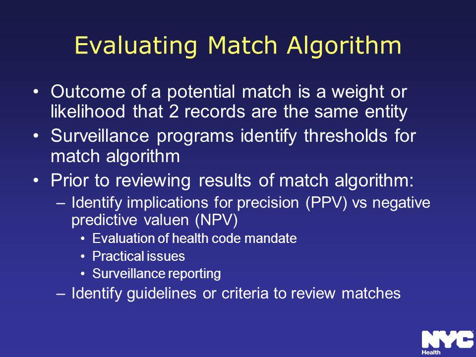 Evaluating Match Algorithm