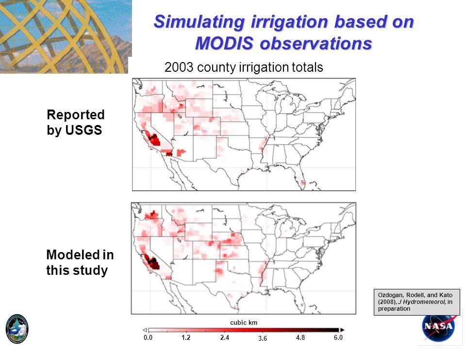 Simulating irrigation based on MODIS observations
