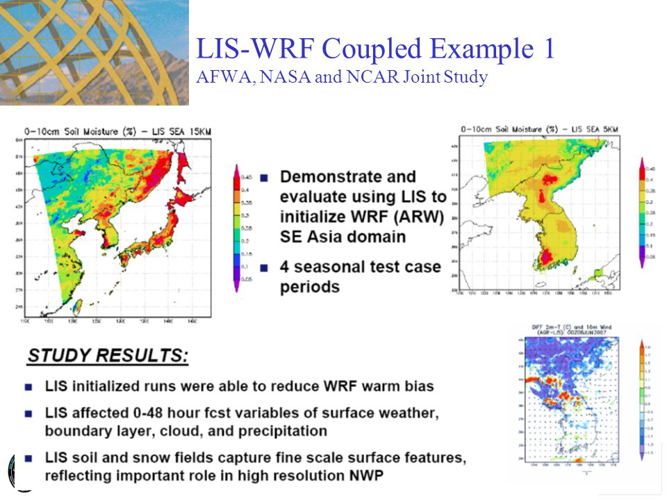 LIS-WRF Coupled Example 1 AFWA, NASA and NCAR Joint Study