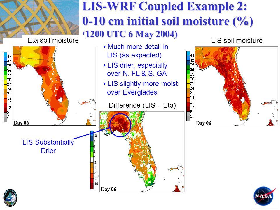 LIS-WRF Coupled Example 2: 0-10 cm initial soil moisture (%) (1200 UTC 6 May 2004)