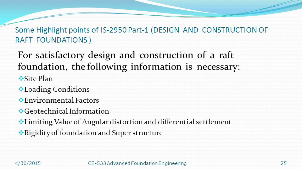 Some Highlight points of IS-2950 Part-1 (DESIGN AND CONSTRUCTION OF RAFT FOUNDATIONS )