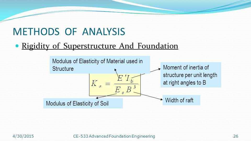METHODS OF ANALYSIS Rigidity of Superstructure And Foundation