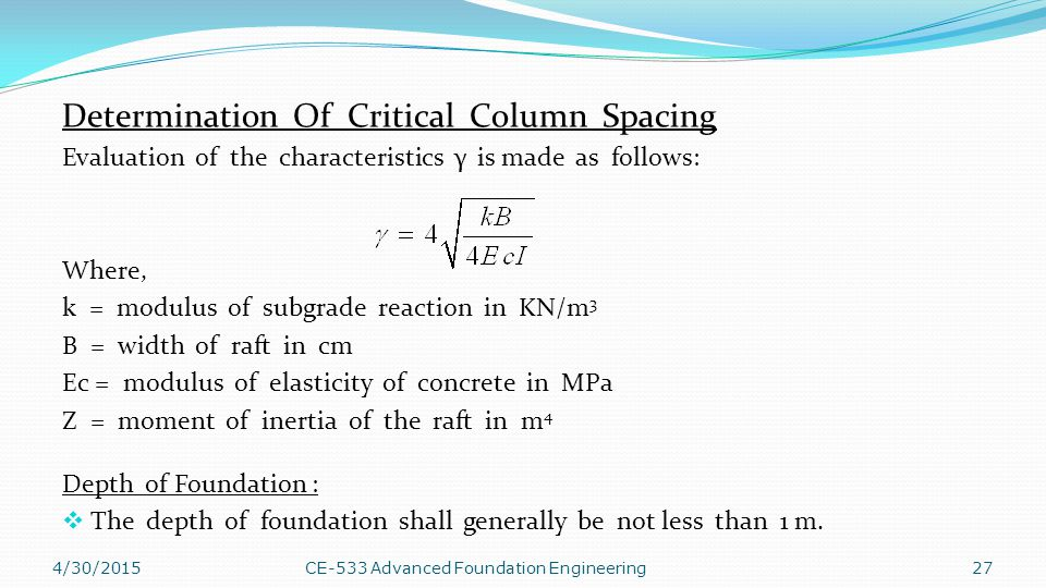 Determination Of Critical Column Spacing