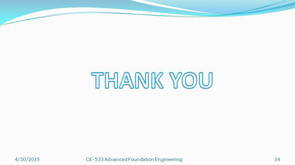 THANK YOU 4/13/2017 CE-533 Advanced Foundation Engineering