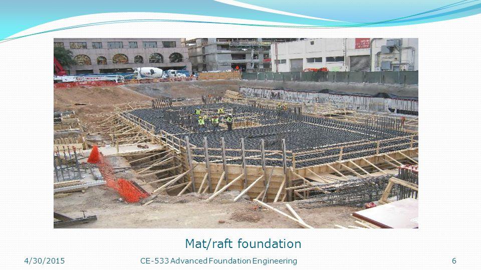 Mat/raft foundation 4/13/2017 CE-533 Advanced Foundation Engineering