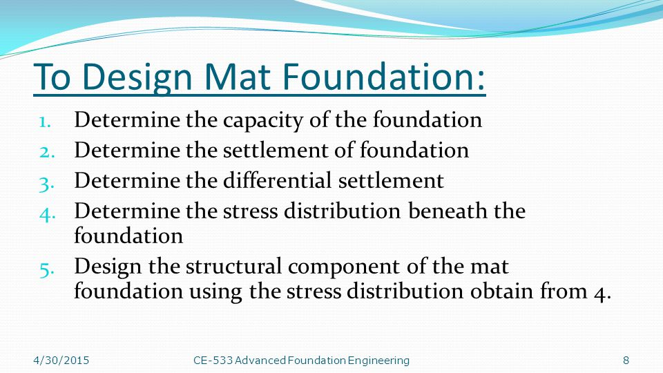 To Design Mat Foundation: