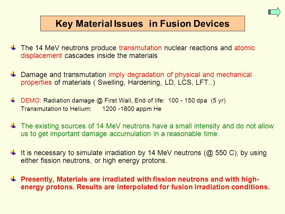 Key Material Issues in Fusion Devices