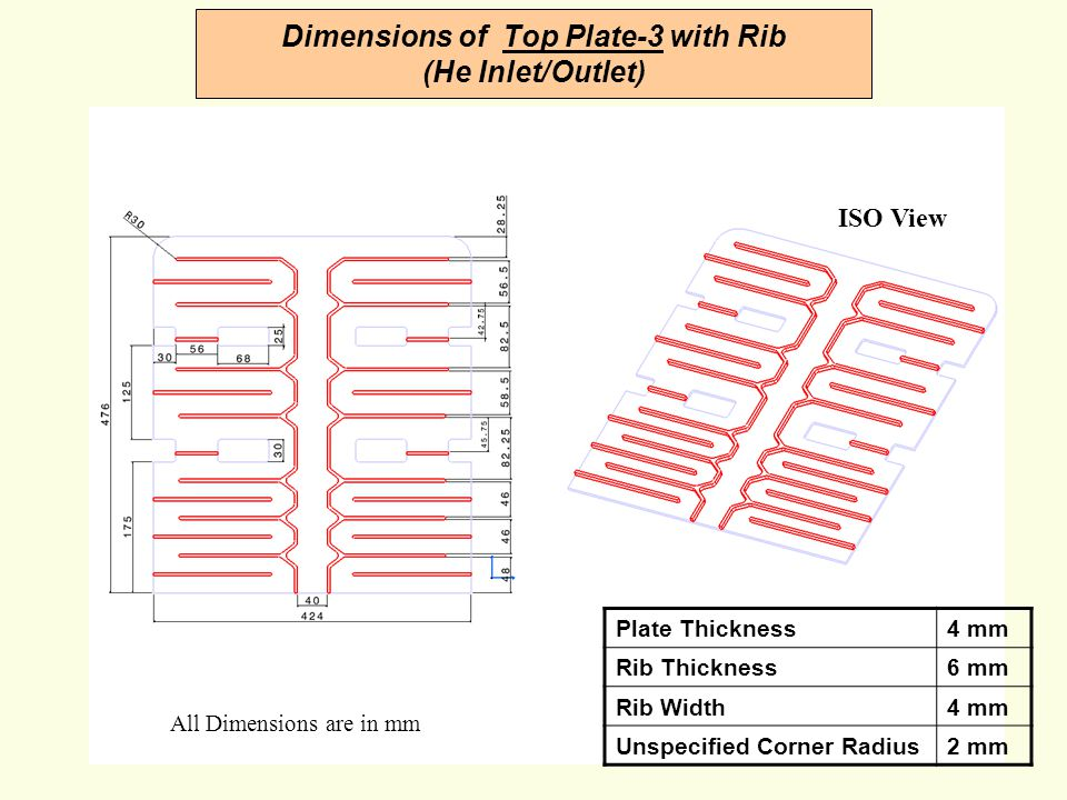 Dimensions of Top Plate-3 with Rib (He Inlet/Outlet)