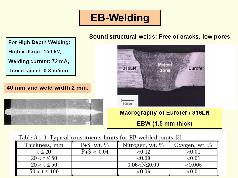 EB-Welding Sound structural welds: Free of cracks, low pores