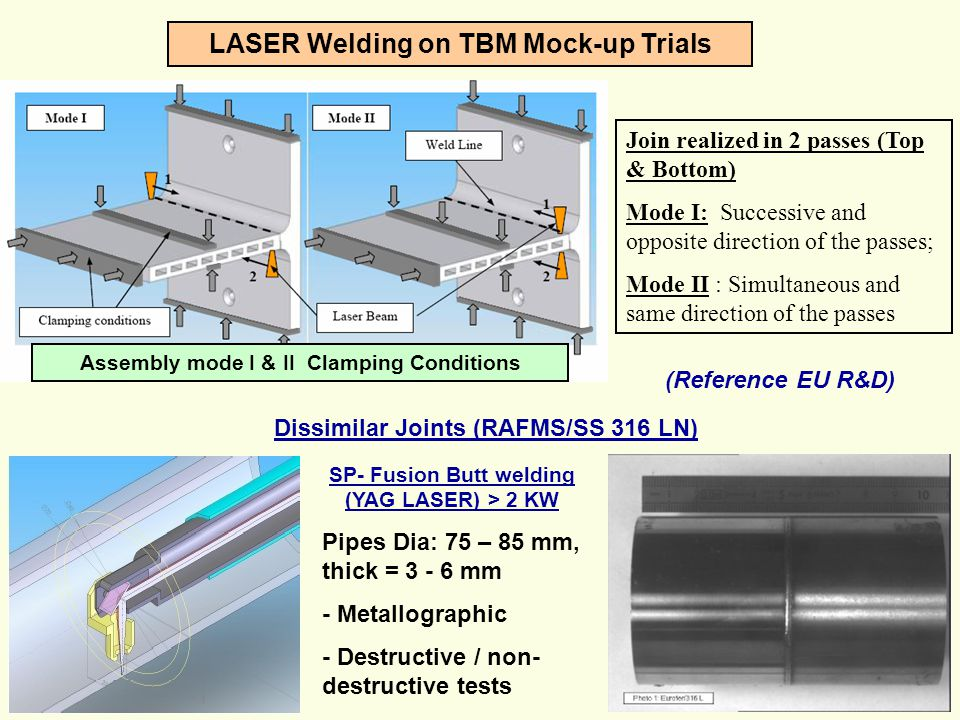 LASER Welding on TBM Mock-up Trials